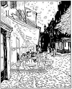 kleurplaat Vincent van Gogh - Caféterras bij nacht 1888