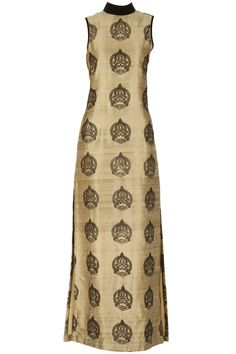 Gold kathakali flocked kurta BY NIKHIL THAMPI.