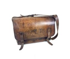 Amazing French Leather Tote Messenger Shoulder Bag, Sacoche PTT for Him or Her