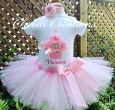 1st Birthday Girl Outfit Baby Girl Pink Tutu by ChristiCreations