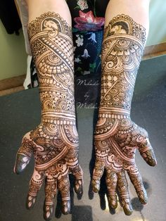 Full Indian bridal mehndi with elephants