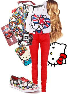 """Hello Kitty style"" by monchyy ❤ liked on Polyvore"