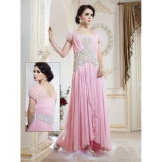 Viva N Diva Pink Color Pure #Goergette #Gown #onlineshopping http://goo.gl/0BFpkk
