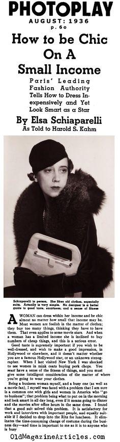 Elsa Schiaparelli Recommends...(Photoplay Magazine, 1936)