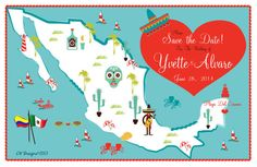 Wedding Save the Date  Mexico modify with your by State/Country by cwdesigns2010 cws-designs.com themapchick.com