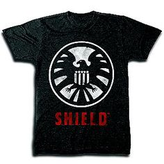 Men's Graphic Tee Avenger S.H.I.E.L.D. Short Sleeve Black- Marvel - XL