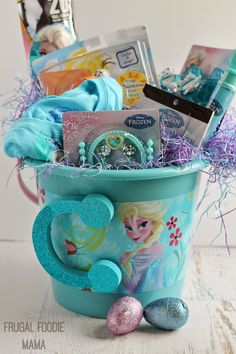 Frozen gift basket made by normas unique gift basket6000 make a frozen themed easter basket packed with goodies from your local walmart negle Gallery