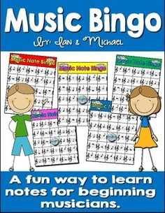 "Are you looking for a fun way to help your beginning musicians learn to identify treble clef notes and rests?Students will have fun trying to get a ""Bingo"" while paying attention to if the notes on their cards are whole notes, half notes, eighth notes, or quarter notes."