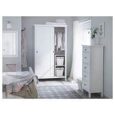 IKEA - HEMNES, chest, white stain, Of course your home should be a safe place for the entire family. That's why hardware is included so that you can attach the chest of drawers to the wall. Made of solid wood, which is a durable and warm natural material. Hemnes Wardrobe, Bedroom Wardrobe, Wardrobe Drawers, White Wardrobe, Sliding Wardrobe, Bedroom Inspo, Bedroom Ideas, Ikea Bedroom Furniture, White Furniture