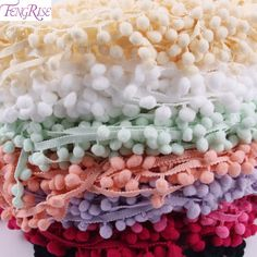 FENGRISE Lace Fabric 5 yard 1cm Sewing Accessories Pompom Trim Pom Pom Decoration Tassel Ball Fringe Ribbon DIY Material Apparel -  http://mixre.com/fengrise-lace-fabric-5-yard-1cm-sewing-accessories-pompom-trim-pom-pom-decoration-tassel-ball-fringe-ribbon-diy-material-apparel/  #Lace