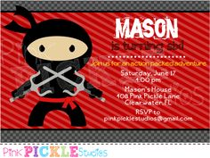 Ninja Birthday Party Invitation Template - DOWNLOAD Instantly ...