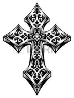 tatouage gothique: Orné croix celtique Vecteur