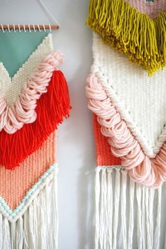 March 2016 Collection of Woven Wall Hangings 2019 Rachel Denbow's March 2016 woven wall hangings. The post March 2016 Collection of Woven Wall Hangings 2019 appeared first on Weaving ideas. Weaving Textiles, Weaving Art, Tapestry Weaving, Loom Weaving, Wall Tapestry, Weaving Wall Hanging, Wall Hangings, Yarn Crafts, Diy Crafts