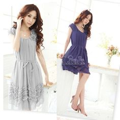 Fashion Women Sleeveless Flower Embellished Ripple One-piece Dress 4Colors