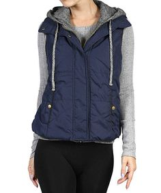Love this Dark Navy & Gray Hooded Puffer Vest on #zulily! #zulilyfinds