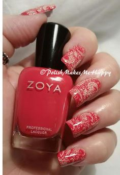 """A real deep coral! This is so pretty, Zoya """"LC"""", best described as a bright, creamy saturated coral red with a shiny creme finish. I don't do many reds at all, but this is one that is just so beautiful!!! I did #stamp with Mundo de Uñas """"bones"""" using UberChic Beauty 1-02. #pmmh #nailpictures #prettynails #notd #paisley"""
