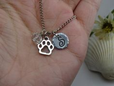 Paw Love Crystal Necklace Pet Jewelry Paw Charm Cat Dog Paw Heart Charm Cat Jewelry Dog Jewelry Friendship Necklace Best Friend Jewelry Love