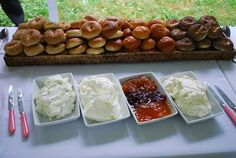 Fresh bagels with various spreads for a pre-wedding Brunch. Brunch please! Like snacks!!!