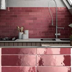 Room Color Schemes, Room Colors, Colours, Beautiful Small Bathrooms, Beautiful Kitchens, Metro Tiles Bathroom, Coloured Grout, Pink Tiles, Kitchen Wall Colors
