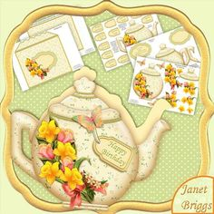 """TEAPOT SHAPE CARD SPRING DAFFODILS Decoupage Card Kit on Craftsuprint designed by Janet Briggs - Teapot shape card, with 3d step by step decoupage. Teapot is embellished with pretty daffodils, tulips, optional butterfly and sentiment tag.Insert plaques are included for the inside of the card, and a coordinating envelope.Completed card measures approx 7.5 x 6.5"""". Creates a lovely card for Mother's Day, Easter or a Spring birthday.Kit includes1. Teapot front"""