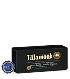 """White Extra Sharp Cheddar Cheese, made in Tillamook, Oregon by TILLAMOOK CHEESE.      Voted 'America's Best' at the 2013 United States Championship Cheese Contest®.      2010 """"Best Medium Cheddar in the World,"""" (O / USA)"""