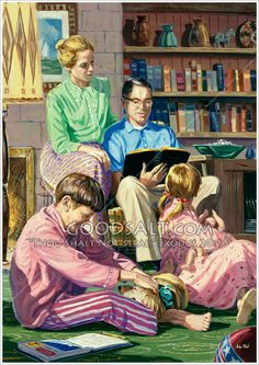 A family time event sitting and listening to dad read the Bible. the family that prays together will stay together. Family Illustration, Illustration Art, Vintage Images, Vintage Art, Norman Rockwell Art, The Good Old Days, Great Pictures, Beautiful Paintings, Retro