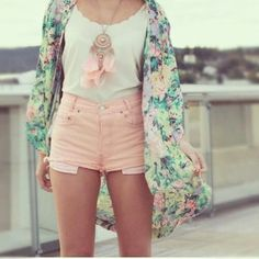 Love the color combination! The cute pink shorts, white shirt and colorful cardigan! Just would have to make it jeans for school