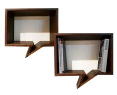 How fun are these Speech Bubble Bookshelves - 'Shelves Comic' makes for quirky bookshelf or wall storage!