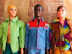 1971 Malibu Ken #1088, 1970 Brad #1542, 1971 Live Action Ken #1155 (l to r) #KenDoll #MalibuKen #BradDoll #LiveActionKen #VintageKen #ModKen #Barbie #Mattel