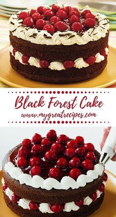 This classic layer #cake looks spectacular and tastes fantastic, too! A cake mix and #cherry pie filling make it easy.