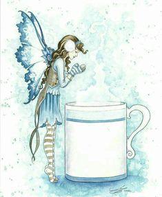 Hot Cocoa fairy art by Amy Brown Amy Brown Fairies, Elves And Fairies, Dark Fairies, Fairy Land, Fairy Tales, Fairy Pictures, Beautiful Fairies, Magical Creatures, Fantasy Artwork