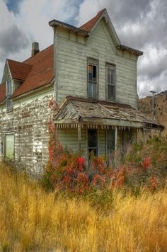 Old Farm House With Unique Front / looks kind of like an old store front