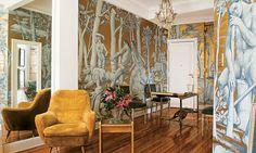 Квартира в Буэнос-Айресе, 70 м² http://www.admagazine.ru/inter/97733_kvartira-v-buenos-ayrese-70-m.php  Оформляя квартиру в Буэнос-Айресе, дизайнер Рикардо Синалли решил зрительно увеличить пространство с помощью зеркал, а главным акцентом сделать живописные обои.