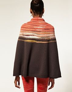 Missoni Cowl Neck Knitted Poncho-and I like the colors!