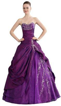 herafa w35264-6 Wedding Dress Elegant Boat Neck Sleeveless Ruched & Box Pleat Delicate Beading Long 0 Ball Gown Purple $308.40