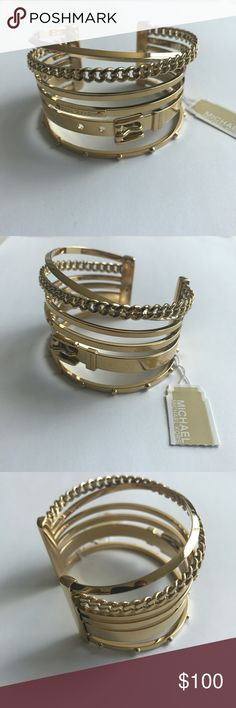 Michael Kors multi bangle cuff Michael Kors multi bangle cuff. A cuff that looks like 6 bangle bracelets. Easy to put on and remove with open back! Easy to get the stacking look with this! New with tags! MICHAEL Michael Kors Jewelry Bracelets