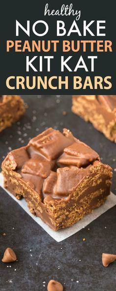 Healthy No Bake Peanut Butter Kit Kat Crunch Bars (Vegan, Gluten Free) paleo dessert bars Köstliche Desserts, Delicious Desserts, Snack Recipes, Dessert Recipes, Dessert Bars, Kit Kat Dessert, Kit Kat Recipes, Paleo Dessert, Gluten Free Baking Recipes