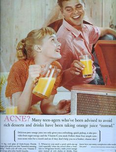 Orange Juice for Acne! from Seventeen Magazine, 1961 Pssst! Here, take some of this orange juice! Vintage Advertisements, Vintage Ads, Carol Lynley, Ice Cream Candy, Seventeen Magazine, Fitness Gifts, Cold Meals, Practical Gifts, Good Ole