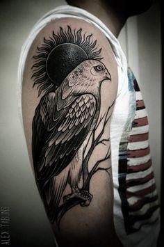 Eagle tattoo by Alex Tabuns Bird Of Prey Tattoo, Hawk Tattoo, Feather Tattoos, Tattoo You, Black Ink Tattoos, Top Tattoos, Badass Tattoos, Body Art Tattoos, Hand Heart Tattoo