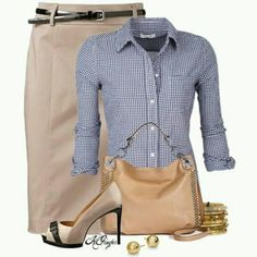 Cute summer work outfit...  but with flats or kitten heel.  Need to find a skirt that would fit properly.  I have tan denim skirt and indigo denim skirts