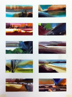 Color landscape quick studies. Start with a stroke and build from there... Great fun and a great way to learn watercolor timing, color & light and design. Landscape Concept, Watercolor Landscape, Light Colors, Fun, Design, Style, Swag, Bright Colors, Watercolor Landscape Paintings
