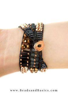 Zelf Een Wrap Armband Maken -Zwart Met Rose Goud Beaded Bracelets, Leather, Jewelry, Jewellery Making, Jewerly, Jewelery, Pearl Bracelets, Jewels, Jewlery