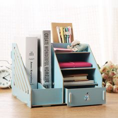 Fashion Candy Color Office Desk Organizer Wood Cabinet DIY Desktop Wooden Storage Box To Storage File Documents(China)