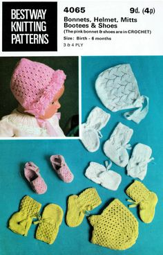 Items similar to PDF Vintage Baby Doll Knitting Pattern Premature Bestway 4065 Lace Bonnet Mitts Shoes Tiny Tears, Rose Bud, Pedigree, Reborn, Kitsch on Etsy Vintage Crochet Patterns, Vintage Knitting, Baby Knitting Patterns, Baby Patterns, Vintage Baby Toys, Retro Baby, 4 Ply Yarn, Baby Bonnets, Craft Patterns