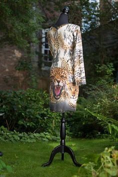 short dress: panther print with a double V-neck by dressedbymind