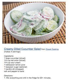 Creamy Dilled Cucumber Salad- Sub in Greek yogurt for Sour Cream, Stevia for Sugar