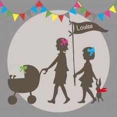 Un faire-part naissance très original, pour une 3e naissance fille ou garçon avec deux filles ainées. Des profils en ombre chinoise apportent beaucoup de douceur. Pink, Pastels, Taupe, Roses, Third Baby, Two Daughters, Flags, Beige, Hot Pink