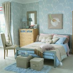 I love the colour scheme in this bedroom, so soft and relaxing. However, I do think that the curtains look a bit skimped. This is what one width of curtain looks like at a relatively tall window. Unless the window is very narrow then I think it would have looked much better with two widths per curtain. The wider the curtain the more sumptuous a gather you will achieve.