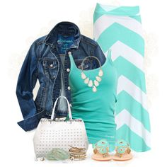 """Striped Skirt"" by tufootballmom on Polyvore"