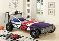 Metal Race Car Bed for Boys, the Furniture of America Max Metal Car Bed, Twin, Silver and Black Cool Toddler Beds, Toddler Car, Ready Bed, Kids Car Bed, Race Car Bed, Car Bedroom, Bedroom Ideas, Theme Bedrooms, Kids Bedroom